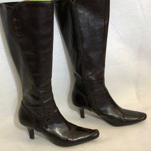 Liz Claiborne brown knee high boots button detail